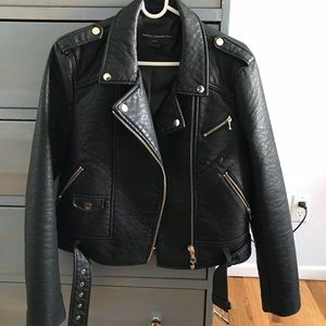 French Connection Gen Faux-Leather Moto Jacket